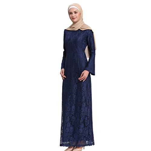 Robe Musulmane Femme, Robe ete Femme Robe de Mariée Caftan Femmes Musulman Moyen-Oriental Abaya Col Rond Robe Maxi Islam Longue Jupe Robe de Soirée Partie Musulmanes Vêtements