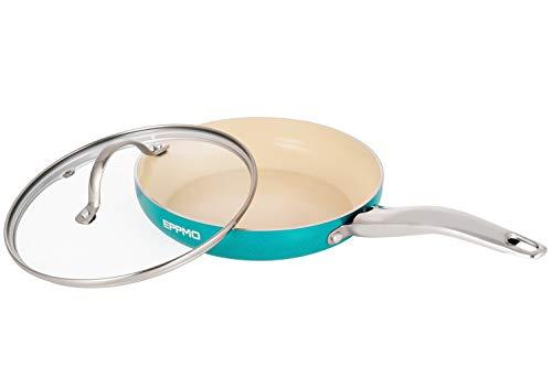 EPPMO Sartén antiadherente de Aluminio con Tapa sin PFOA,para Lavavajillas y Horno, Apta para Todo Tipo de Cocinas Incluido Inducción (20cm, Azul)