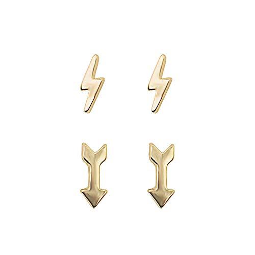 Topdo Pendientes de Mujer de Color Oro Rayo y Arrow Personalidad aretes Joyería para Mujeres y niñas Elegante Regalo 1 Juego de 2 Pares