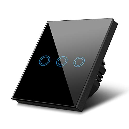 Maclean MCE705B Touch Lichtschalter Wandschalter Glas Schalter mit farbwechsel LED Hintergrundbeleuchtung Einbauschalter 85x85mm (3-Fach Rund, Schwarz)
