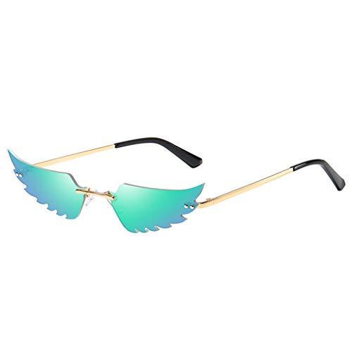 FeiliandaJJ Creative Flügel Form Sonnenbrille Damen Herren Metall Brillenfassungen, Mode Vintage Punk-Stil Sonnenbrille Retro Unisex Sunglasses (Grün)