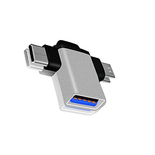 fuchsiaan 2-en-1 Tipo-C Micro USB OTG Adaptador Convertidor de transmisión de datos para Tablet Teléfono Portátil - Plata