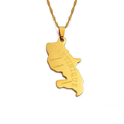 Mapa de color dorado / plateado de Martinica collares pendientes para mujeres / hombres mapas joyería regalos longitud 60 cm cadena fina