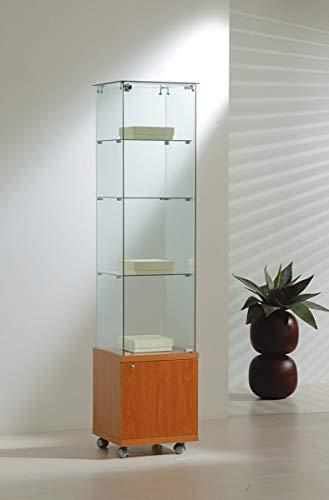 MHN vierkante tentoonstellingsvitrine veiligheidsglas afsluitbaar kast glazen vitrine eendeurs rolbaar 40 cm breed 40 cm diep