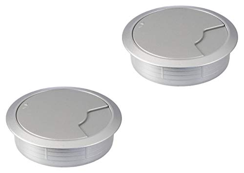 Gedotec kabelgeleiding, zilver, kunststof, DESK, rond, kabeldoorvoer, zilver-wit-aluminium, boor-Ø 80 mm, tafelkabelgeleiding om in te drukken, 2 stuks modern 2 Stück Wit aluminium zilver