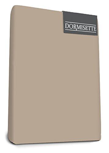 Bed-Fashion Luxe Dormisette élasthanne Drap-Housse, Coton, Taupe, Simple, 80 x 200 cm