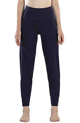 icyzone Damen Lang Sporthose Jogginghose mit Seitentaschen Hohe Taille Sweathose Running Fitness Pants (M, Purple)