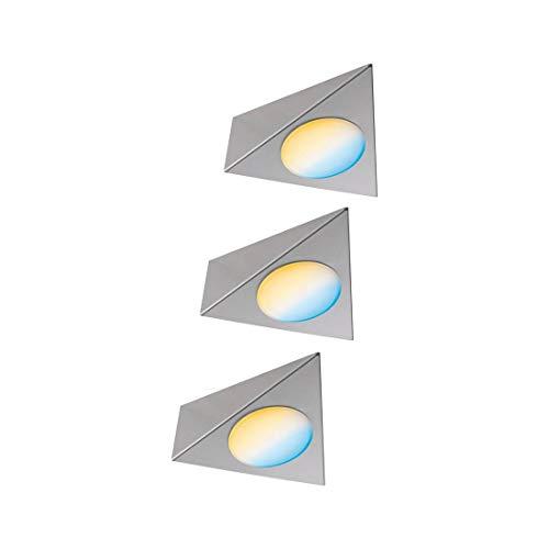 Paulmann 99974 LED Möbelleuchte Clever Connect Starter Set Trigo DC 12V incl. 3x2,1 Watt dimmbar Schrankleuchte Nickel gebürstet Schranklicht Metall Küchenlampe 2700-6500K