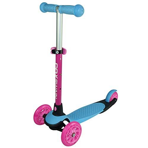 Cox Swain 3 Wheels Verstellbarer Kinderscooter YATHO, Leuchtrollen, Color: Blue
