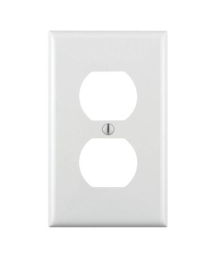 Leviton 80703-W 1-Gang Duplex Device Receptacle Wallplate, Standard Size, Thermoplastic Nylon, Device Mount, White, 1 Pack