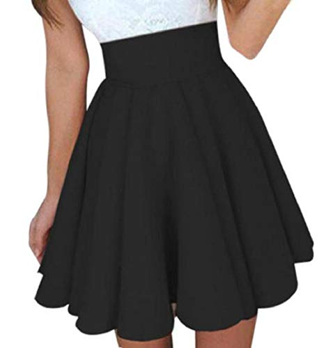 MISYAA Skrits Womens Summer Solid Skater Skirt High Waist Mini Skirts Cocktail Skirt Dresses Besties Gift(Black,Medium)