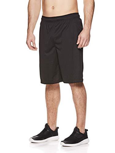 Reebok Men's Mesh Basketball Gym & Running Shorts w/Elastic Drawstring Waistband & Pockets - Open Shot Black, X-Large