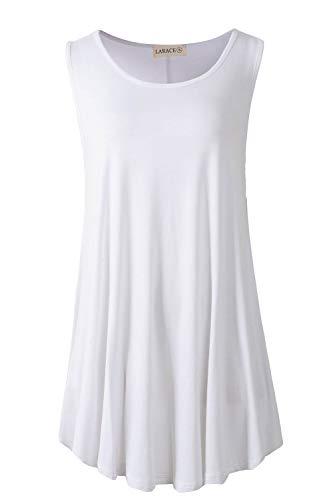 LARACE Women Solid Sleeveless Tunic for Leggings Swing Flare Tank Tops (3X, White)