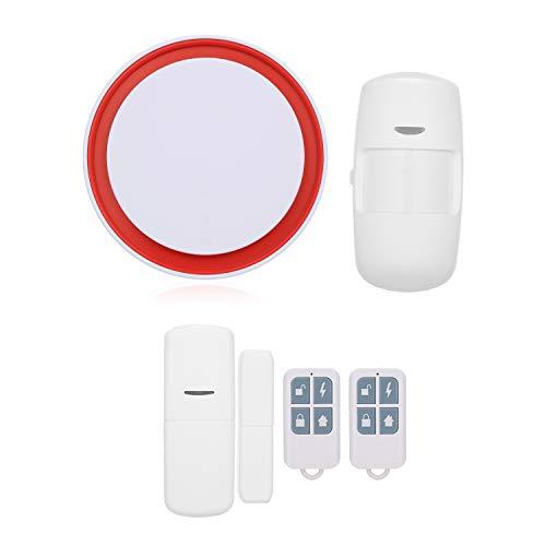 OWSOO 433MHz Sistema de Alarma WiFi gsm 2G, 110dB Flash Strobe, Soporta Control Remoto de App Tuya iOS Android, Marcación Automática, Compatible con Amazon Alexa Echo y Google Assistant