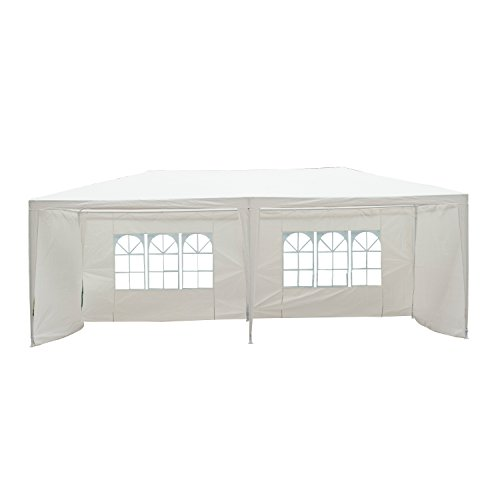 Outsunny 6 x 3 Meters Garden Gazebo Rectangular Marquee Party Wedding Tent Outdoor Canopy - White