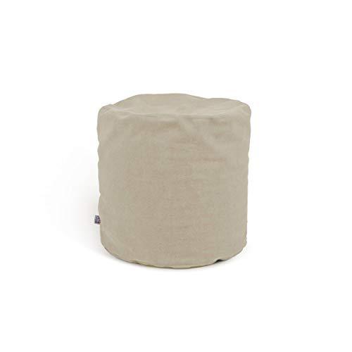 Arketicom Soft Chill Pouf Sacco Poggiapiedi Morbido Rotondo Sfoderabile Puff da Salotto 42x42 Avorio