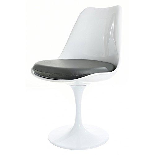 Eero Saarinen Blanc Et Gris PU Tulipe Style Chaise LatŽrale