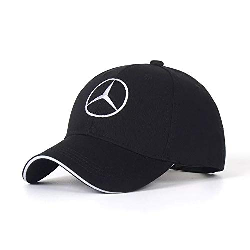 QOR Balance JDclubs Benz Logo Embroidered Adjustable Baseball Caps for Men and Women Hat Travel Cap Car Racing Motor Hat Black