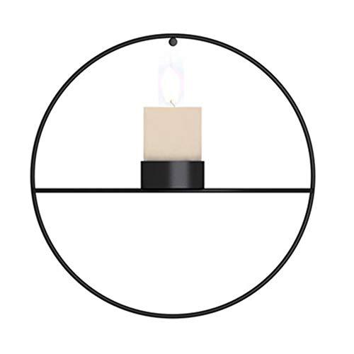 Hylulu Portavelas de pared redondo de metal, soporte para velas de pared, soporte para flores, decoración de pared 3D geométrica para dormitorio, salón, pasillo (negro)