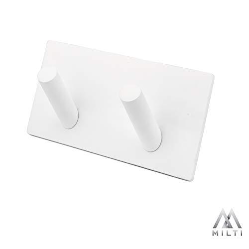 Milti Handtuchhaken selbstklebend aus gebürstetem Edelstahl 304 - Weiß - Design Handtuchhalter ohne bohren für Ihr Badezimmer oder Küche - Nie wieder bohren - Matter Aufhänger