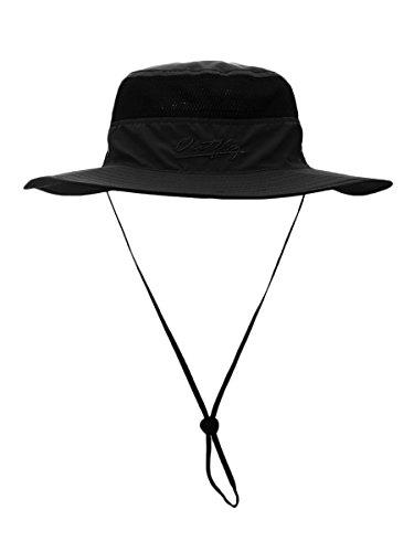 WANYING Damen Herren Outdoor Bucket Hut Fischer Hut Buschhut Atmungsaktiv Schnelltrocknend Sonnenschutz - für Kopfumfang 56-60 cm Schwarz