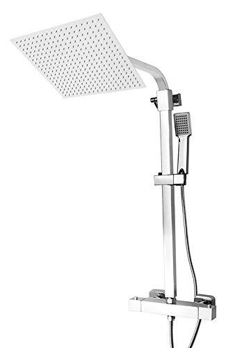 Edelstahl Duschset Duschsystem Thermostat 4 versch. Regenduschköpfe Sanlingo, Ausführung:Duschset mit Duschkopf 40 x 40 cm