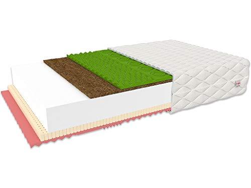 FDM Savona Schaumstoffmatratze mit Kokos-Füllung, Latex und Visco-Schaum Einlage - Härtegrade H3 / H4 - Höhe 22 cm - waschbarer Bezug Cashmere Prestige - Allergiker 🤧 Öko-Produkt 🌿 (160 x 200 cm)