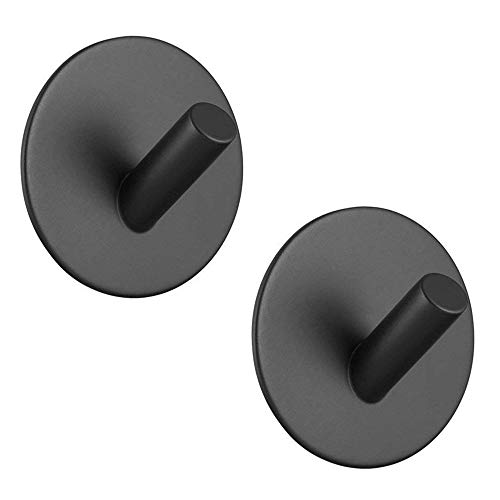 Lopbinte Sticky hook, self-adhesive black wall-mounted hook for key robe towel, steel hook, no drill, no screw, waterproof, suitable for kitchen bathroom and toilet 2 packs