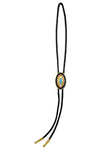 Sunrise Outlet Men's Western Bolo Tie Gold Tone Plated Oblong with Black Leatherette - 18 inch hang