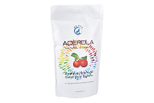 Natural Vitamin C Vitamins Acerola Powder-1 Lb (16 Oz-453 grams) by Mr Ros-100% Pure- Wildcrafted