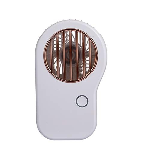 Mini Ventilador De Mano, Ventilador de Collar de 3 velocidades de conmutación, Compatible para Viajes de Oficina en casa al Aire Libre, Carga USB, batería incorporada 800mAh (Color : White)