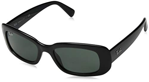 Ray-Ban Women's RB4122 Square Sunglasses, Black/Green, 50 mm
