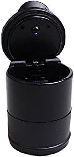 Car Cigarette Ashtray [One Hand Operation][Blue LED Light] Portable Smokeless Ashtray with Lid Butt Bucket-Ashtray with High Flame Retardant PBT Material for Winter Driving Home and Office(Black)