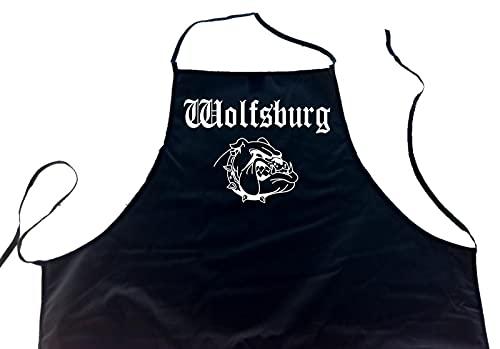 ShirtShop-Saar Wolfsburg (Bulldogge/Hund); Städte Schürze (Latzschürze - Grillen, Kochen, Berufsbekleidung, Kochschürze), schwarz