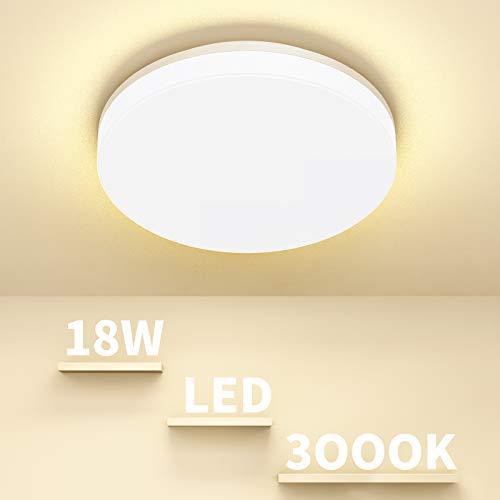 LED Deckenlampe 18W Badezimmer Lampe IP44 Wasserdicht Badlampe Decke Airand Deckenlampe LED Deckenleuchte Bad Ø24CM Deckenlampe Küche Rund Deckenleuchte Balkon Flur Korridor Küchenlampe Warmweiß 3000K