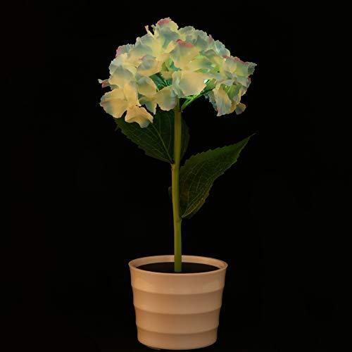 SOLUSTRE Luces de Flores Led Hortensia Artificial Flor en Maceta Luz de Noche Lámpara de Mesa Decorativa con Energía Solar para El Hogar Dormitorio Sala de Estar Decoración de Oficina