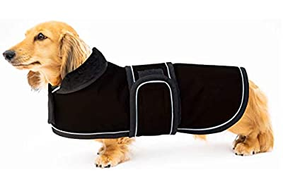 Ctomche Dog Coats Jacket Sport Outdoor Coat,Waterproof Windproof Fleece Lined Dog Coat Outdoor Clothing with Reflective Stripes,Perfect for Dachshunds Black-L