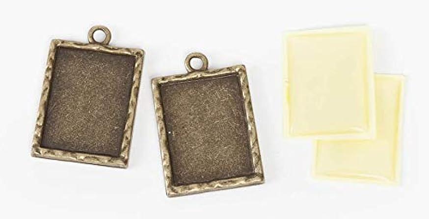 Jewelry Designer SSR-035 Charm Frame Rectangle Brass 20X25M 2Set