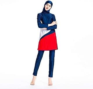 BEESCLOVER Modest Muslim Swimwear Women Islam Three Piece Full Cover Islamic Swimsuit Long Sleeve Hit Color Plus Size Hijab Beachwear Blue S