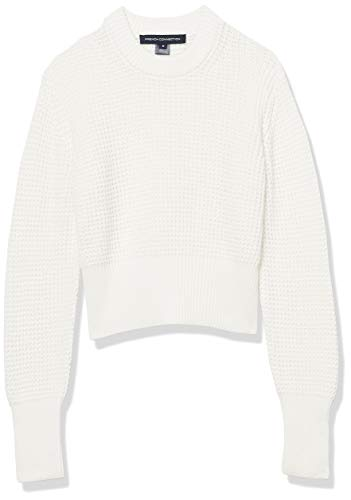 French Connection Women's Millie Mozart Solid Knits Sweaters, Summer White, L