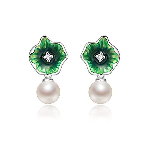 THj Pendientes Pendientes de Perlas Pendientes de Perlas de Agua Dulce de Plata 925 Pendientes de Hoja de Loto Redondos Blancos de 5-6 mm para Mujer Pendientes de botón de Luna
