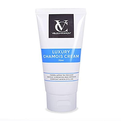 VeloChampion Luxus Anti-Scheuern Chamois-Creme. Für Radfahrer und Läufer. Verhindert Scheuern und Beschwerden (Chamois-Creme ohne Menthol 75ml)