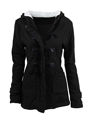 YMING Warm Peacoat for Women Autumn Winter Pea Coat Jacket Classic Jacket Black S
