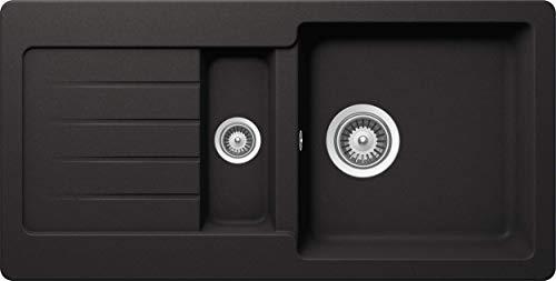 SCHOCK Küchenspüle 86 x 43,5 cm Typos D-150S Nero - CRISTALITE Granitspüle mit 1 ½ Becken ab 60 cm Unterschrank-Breite