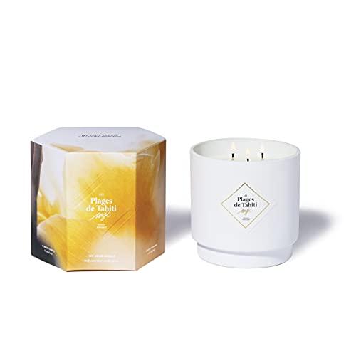 My Jolie Candle, candela profumata grande, 3 stoppini monoï (le spiagge di Tahiti), cera naturale 100% vegetale, 100 ore di combustione, profumo francese, 550 g