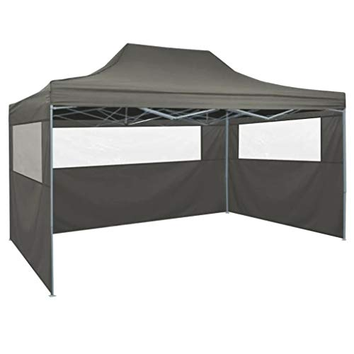 Cikonielf Pop Up Party Tent 4.5 x 3M UV and Water Resistant, Garden Pavilion Tent Elegant Garden Tent for Garden, Anthracite