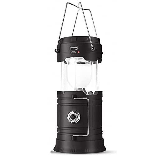 【一台三役 ソーラー充電】 キャンプランプ 高輝度 折り畳み式 LEDランタン 充電式 電池式 3WAY給電方式 懐中電灯 携帯型 テントライト 防水 ハンディ 照明 ランプ アウトドア 非常用 防災グッズ 停電対策 1個入 DeliToo