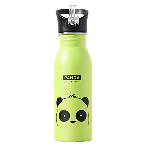 Botella deportiva para niños, de acero inoxidable 304, de 500 ml, ideal para la escuela, actividades al aire libre, antiquemaduras (panda)