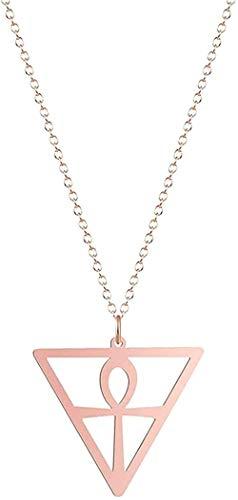 WYDSFWL Collar Amuleto de Acero Inoxidable Collares para Mujeres Hombres Ojo Cruzado O Triángulo Collar Charm Jewelry Gift Longitud de Cadena Ideal 50cm Collar de Regalo