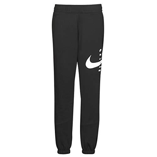 Nike W NSW Swoosh Pant FLC BB, pantalón de felpa con puño para mujer (XL, negro)